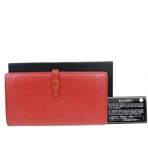 Chanel Coco Mark Leather Long Wallet (bi-fold) Red